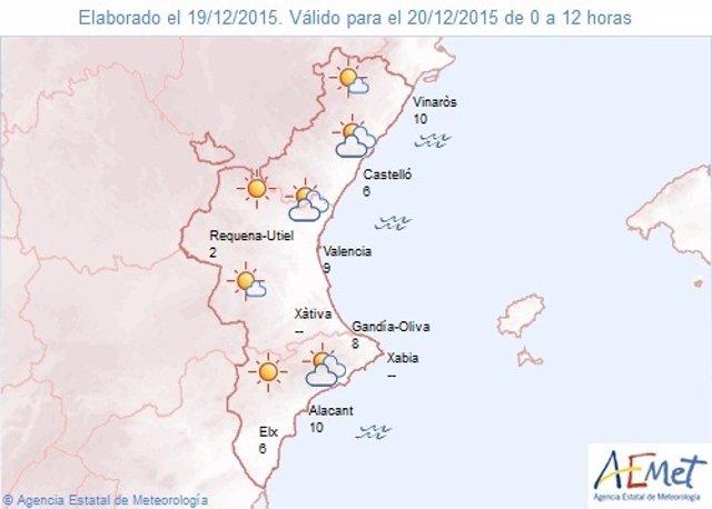 Predicción del tiempo para este domingo 20 de diciembre en la Comunitat