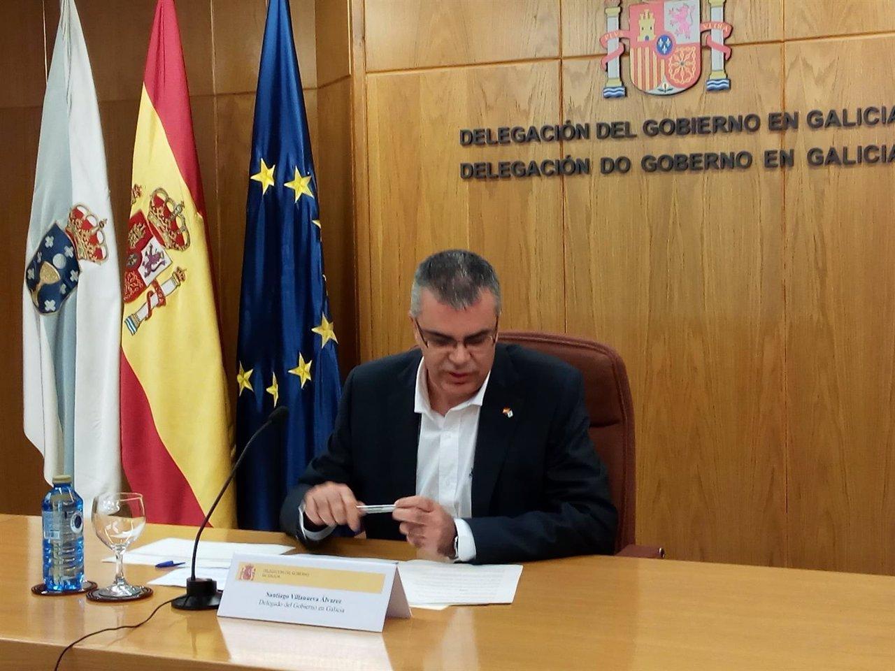 El delegado del Gobierno en Galicia, Santiago Villanueva, en rueda de prensa