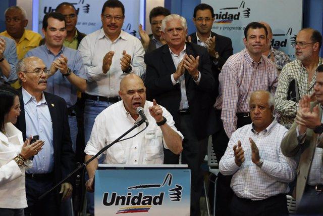 Jesus Torrealba, secretary of the Venezuelan coalition of opposition parties, sp