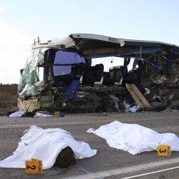 Accidente entre un autobús y un camión en México