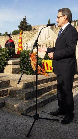 El presidente de la Generalitat, Artur Mas, en el homenaje a Macià