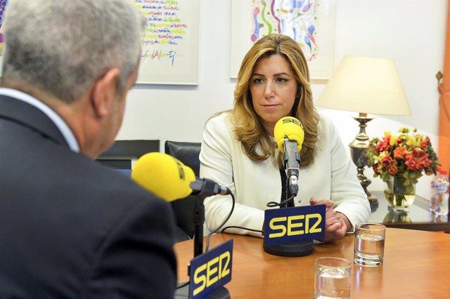 Susana Díaz durante la entrevista
