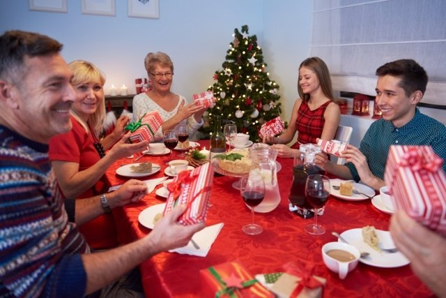 Cena de navidad, familia