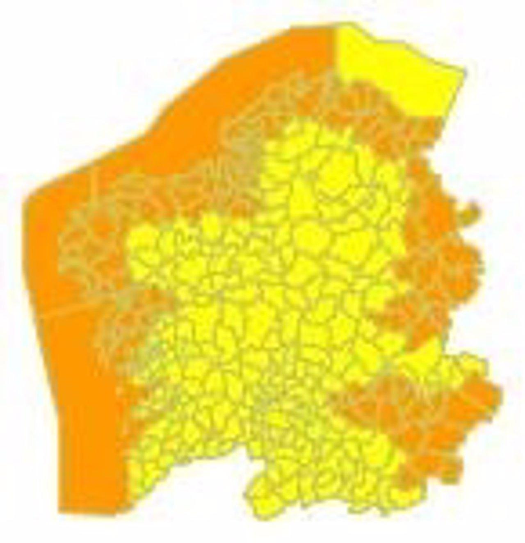 Imagen de la alerta naranja para la jornada del lunes en Galicia