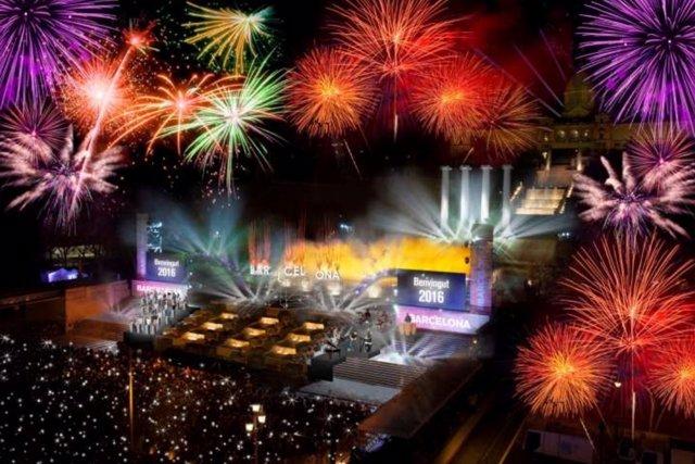 Recreación digital de la fiesta de Fin de Año de Barcelona de 2015