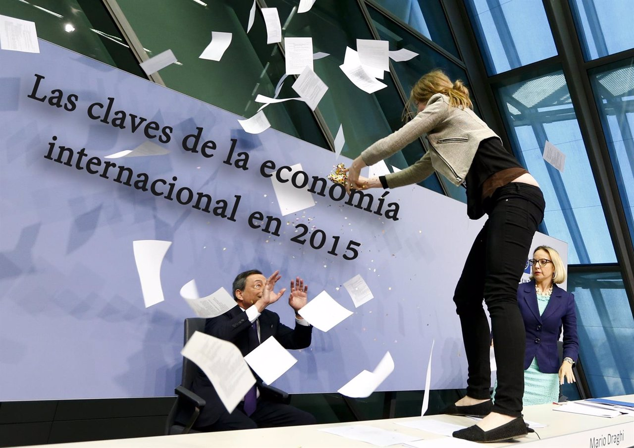 A protester jumps on the table in front of the European Central Bank President M