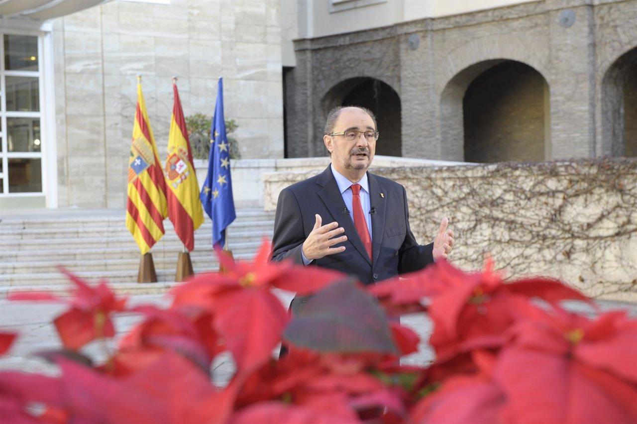 Javier Lambán durante su discurso de fin de año