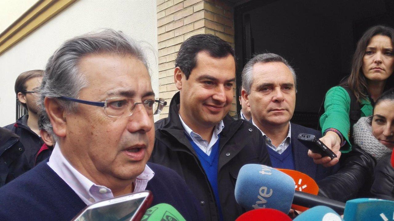 Juanma Moreno, hoy junto a Juan Ignacio Zoido y Juan Bueno