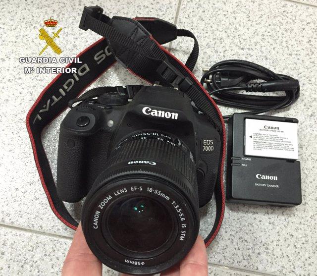 Una de las cámaras recuperadas de los robos en Costa Calma