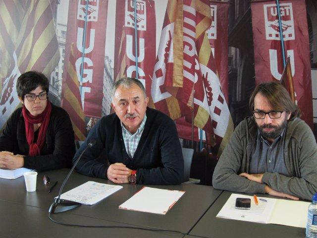 Laura Pelay, Josep Maria Álvarez y Camil Ros (UGT)