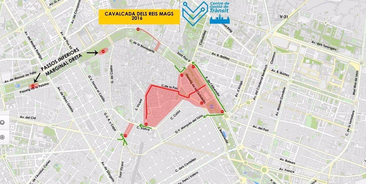 Plano cabalgata de los Reyes en Valencia