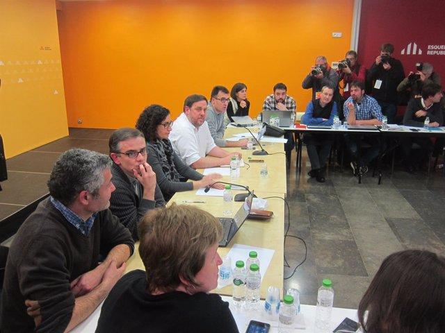 El presidente de ERC, O.Junqueras en la reunión de la ejecutiva