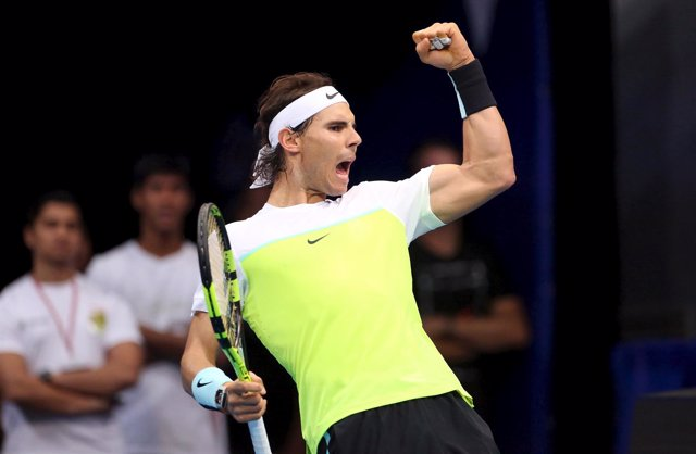 Rafa Nadal celebra una victoria en Abu Dhabi
