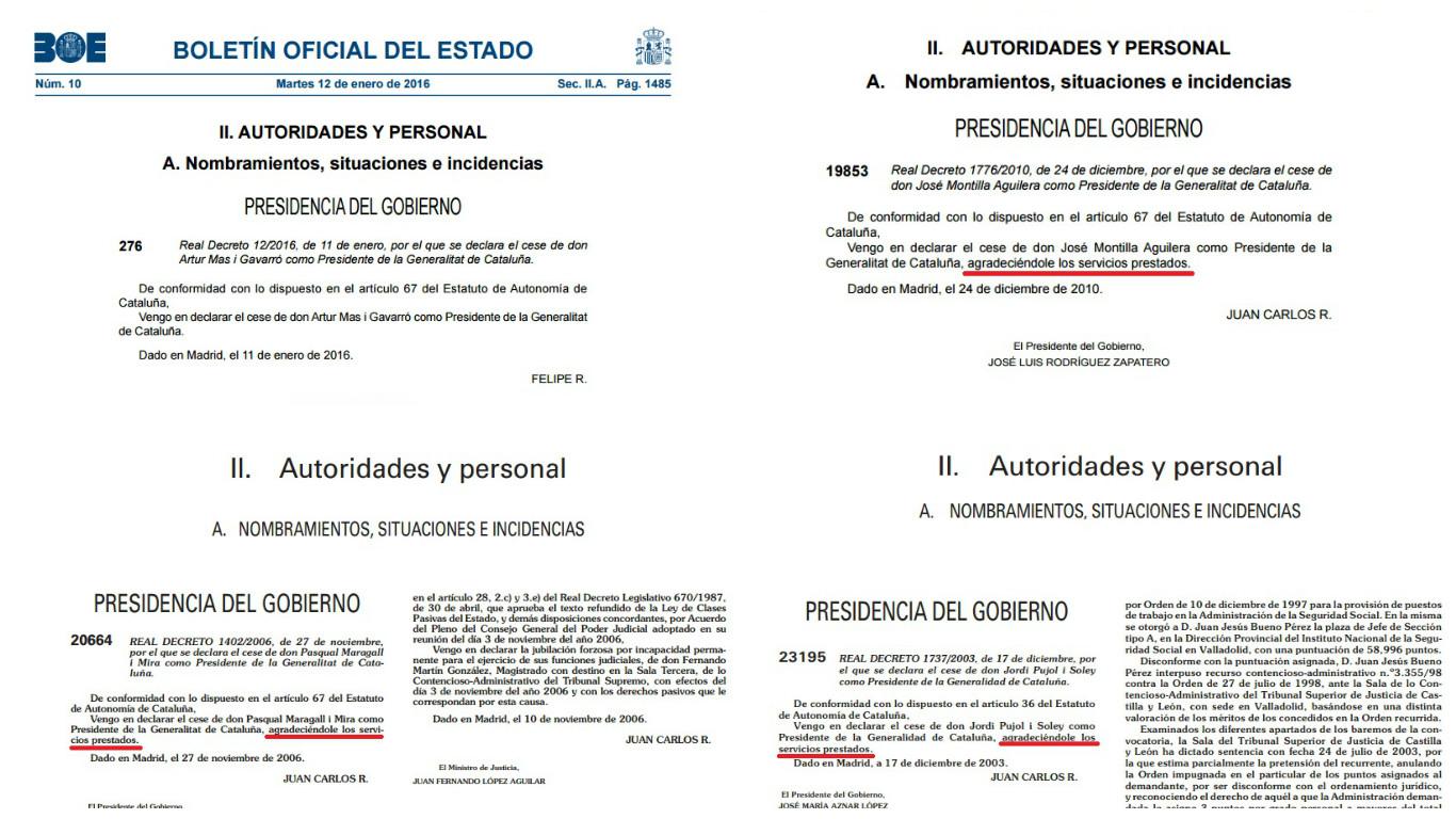 """El BOE publica el nombramiento de Puigdemont y el cese de Mas, sin agradecerle """"los servicios prestados"""""""