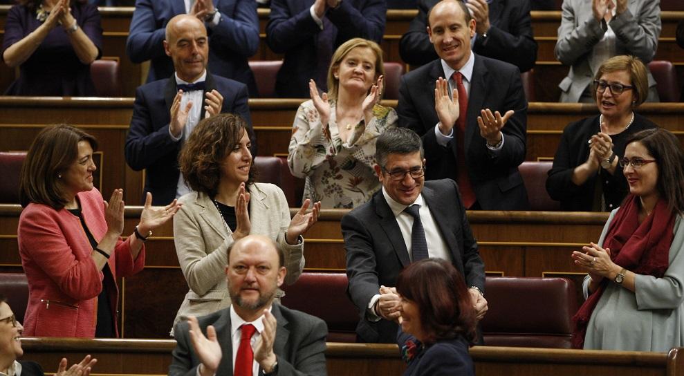 Patxi López durante la intervención de Pedro Sánchez