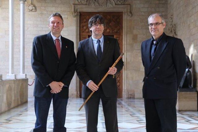 Carles Puigdemont reunido con el alcalde d'Artesa de LLeida, Pere Puiggros