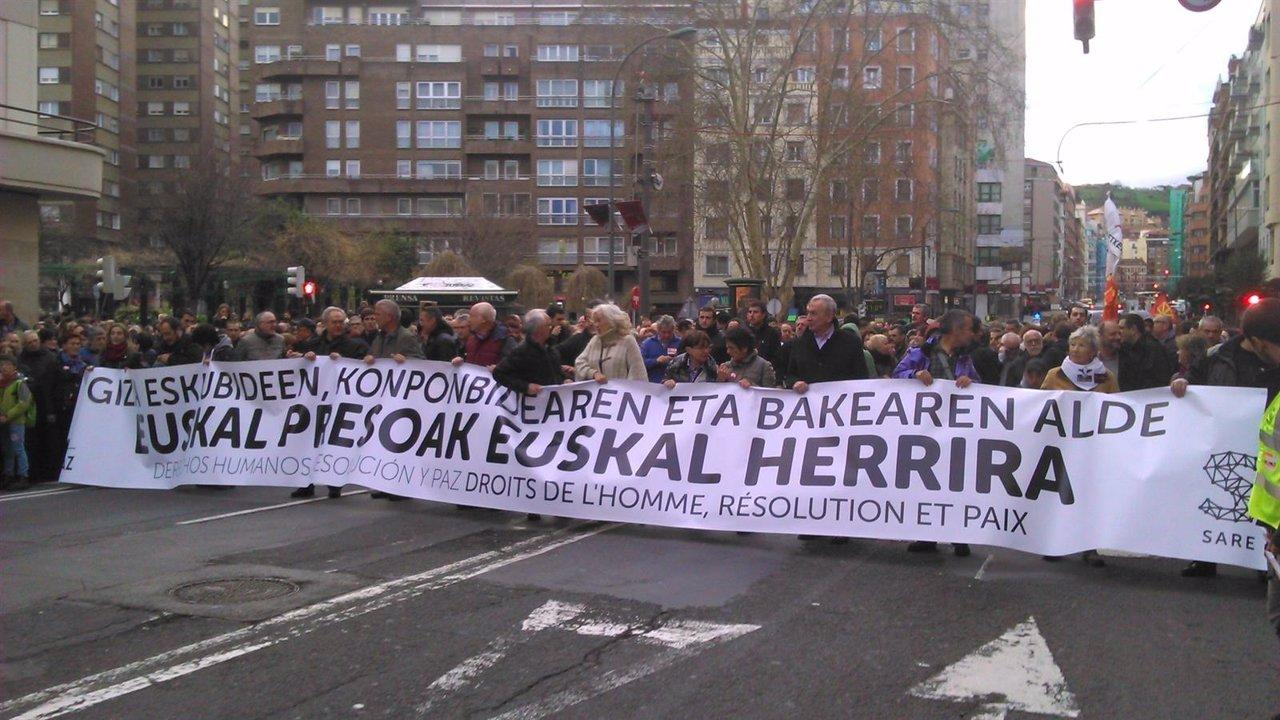Manifestación por los presos de ETA, Sare, Enero 2016