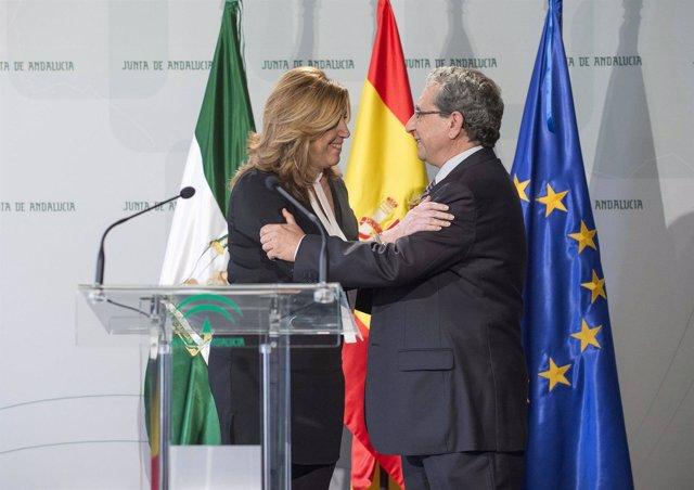 Susana Díaz saluda al nuevo rector de la UMA, José Ángel Narváez