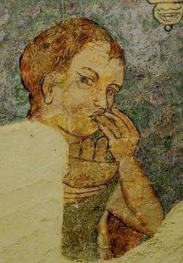 Escena comida para pobres y pelegrinos. Pintura mural Pia Almoina