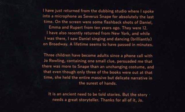 La conmovedora carta de despedida de Alan Rickman para el rodaje de Harry Potter