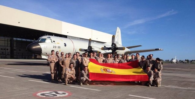 Avión de vigilancia de la misión europea contra las mafias de la inmigración