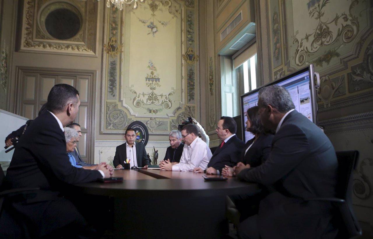 Venezuela's economy vice president Luis Salas attends a meeting at Miraflores Pa