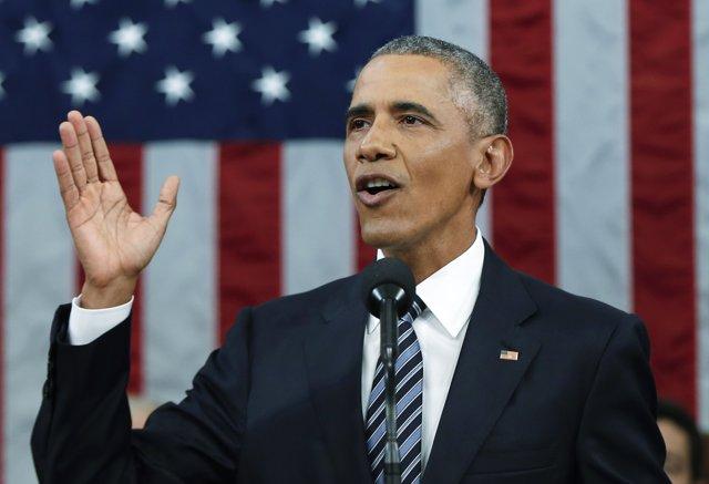 Obama durante su último Discurso del Estado de la Unión