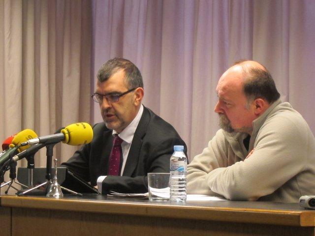 Carles Santamaría y Toni Guiral, en la presentación del Salón del Cómic
