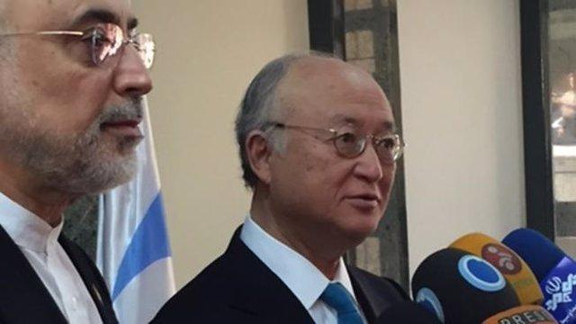 El director general de la AIEA, Yukiya Amano, y el de la OIEA, Alí Akbar Salehi