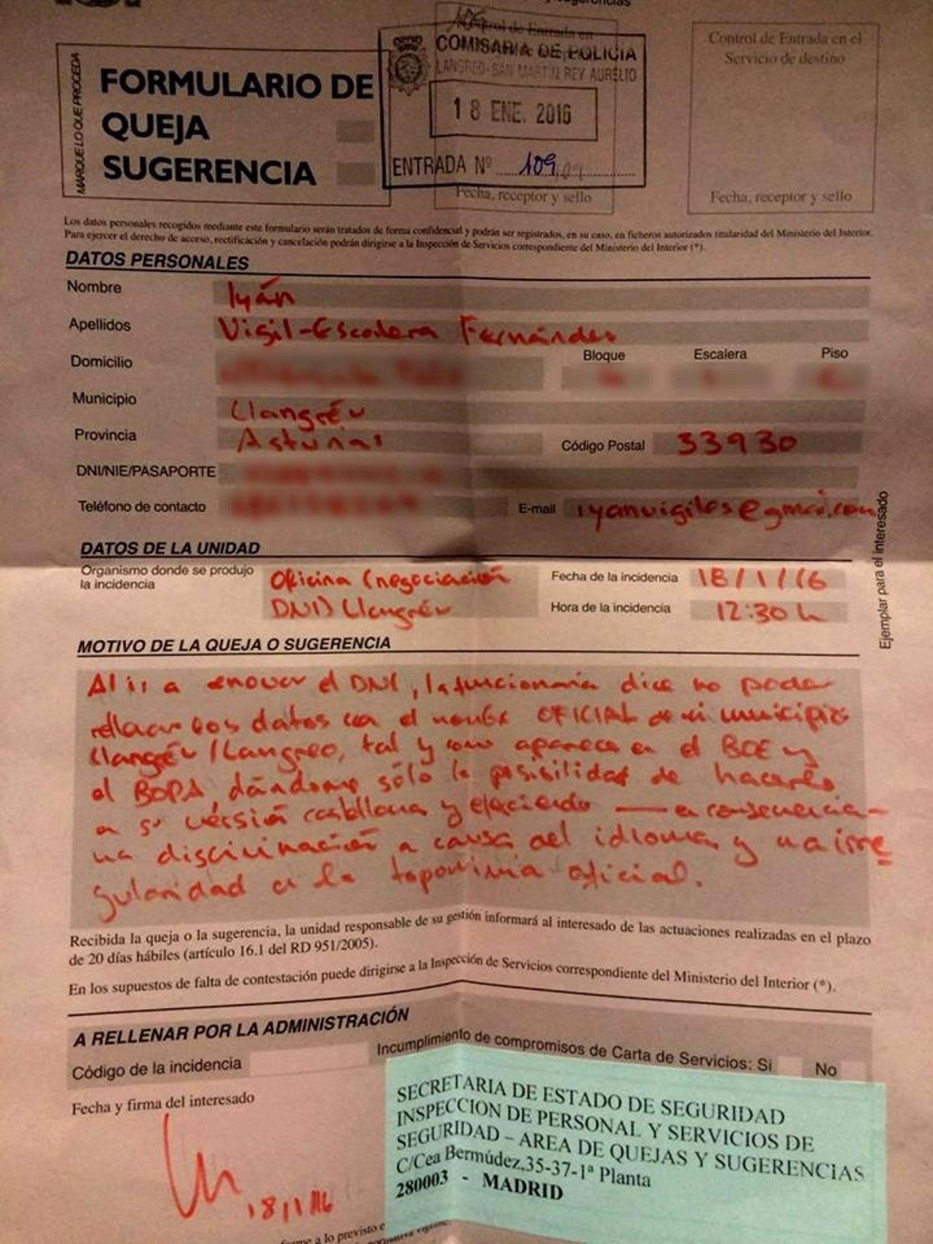 Impiden a un langreano renovar su dni por utilizar el top nimo llangr u - Ministerio del interior renovar dni ...