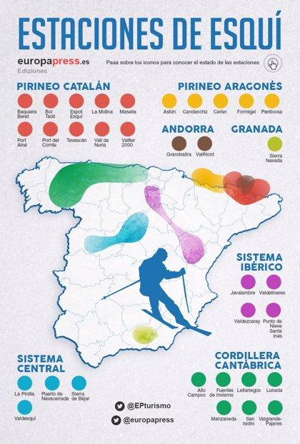 Estaciones De Esqui Mapa.Mapa De Las Estaciones De Esqui De Espana Estado De La Nieve