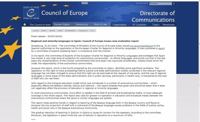 Recomendaciones del Consejo de Europa