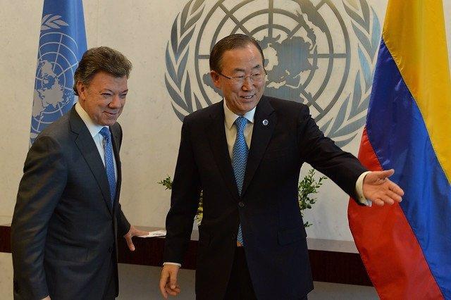 Ban Ki-Moon y Juan Manuel Santos
