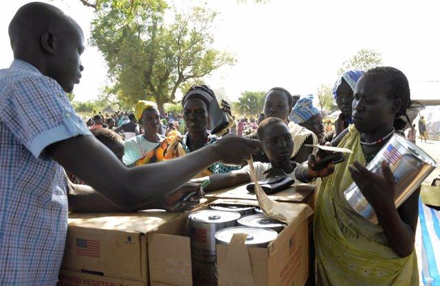 Desplazados de Sudán del Sur debido a la guerra civil.
