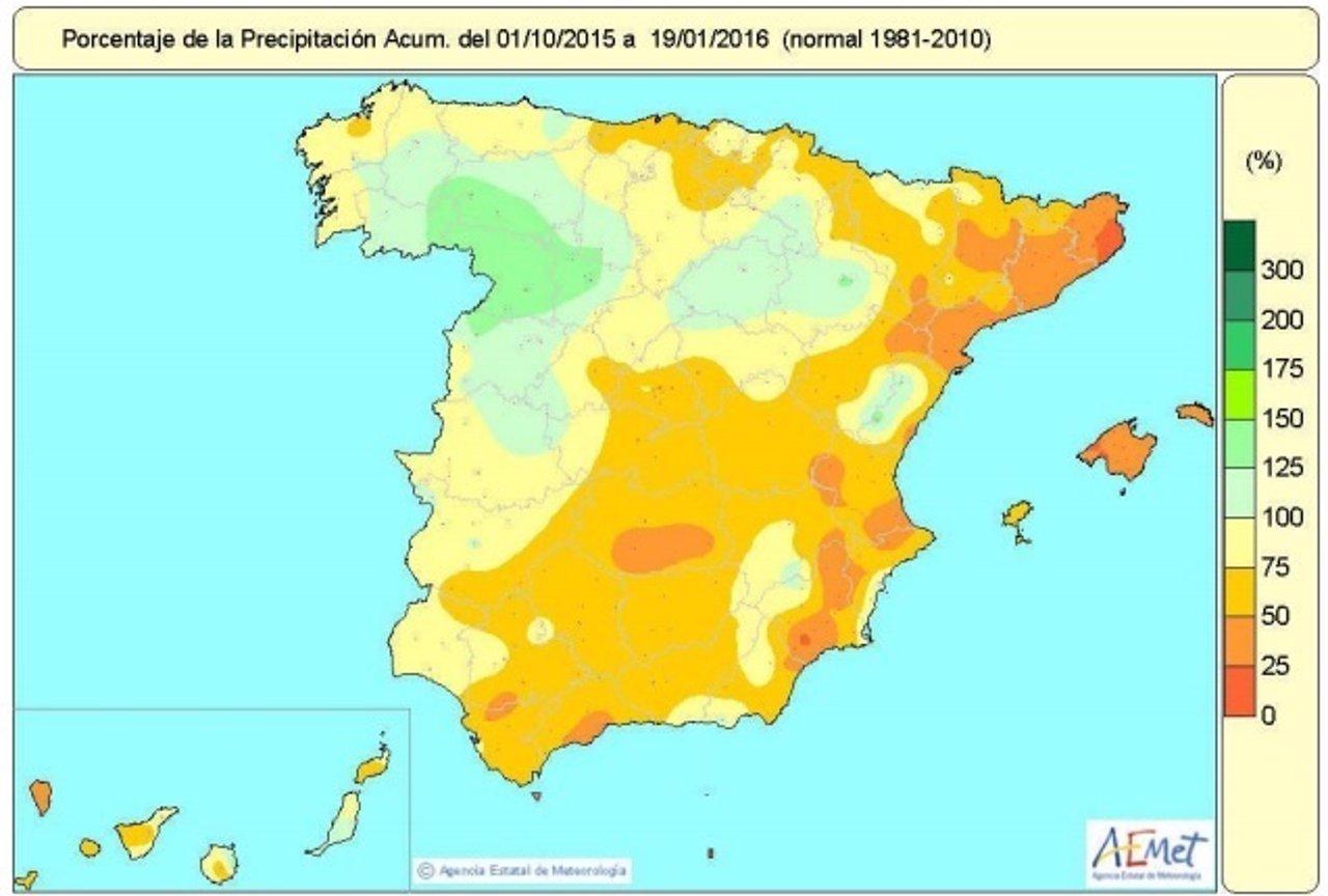 Balance de precipitaciones acumuladas en España hasta el 19 de enero