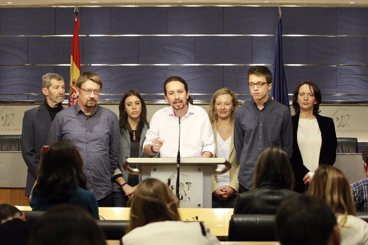 Rueda de prensa de Pablo Iglesias en el Congreso