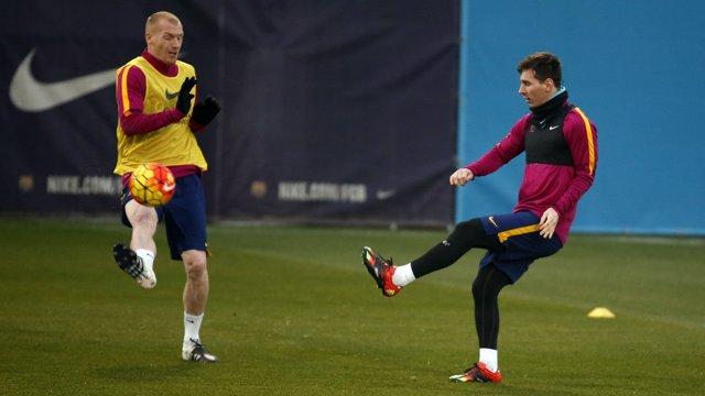 Mathieu y Messi en un entrenamiento del Barça