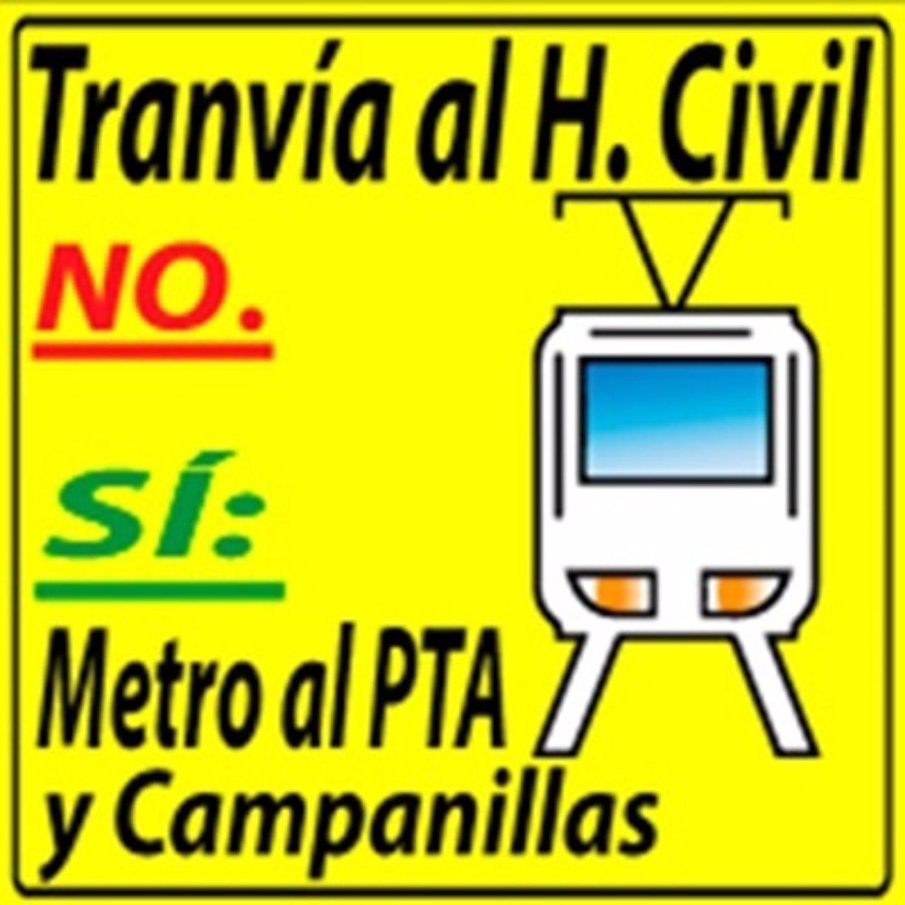 Logo plataforma contra el tranvía al Hospital Civil y a favor del metro al PTA