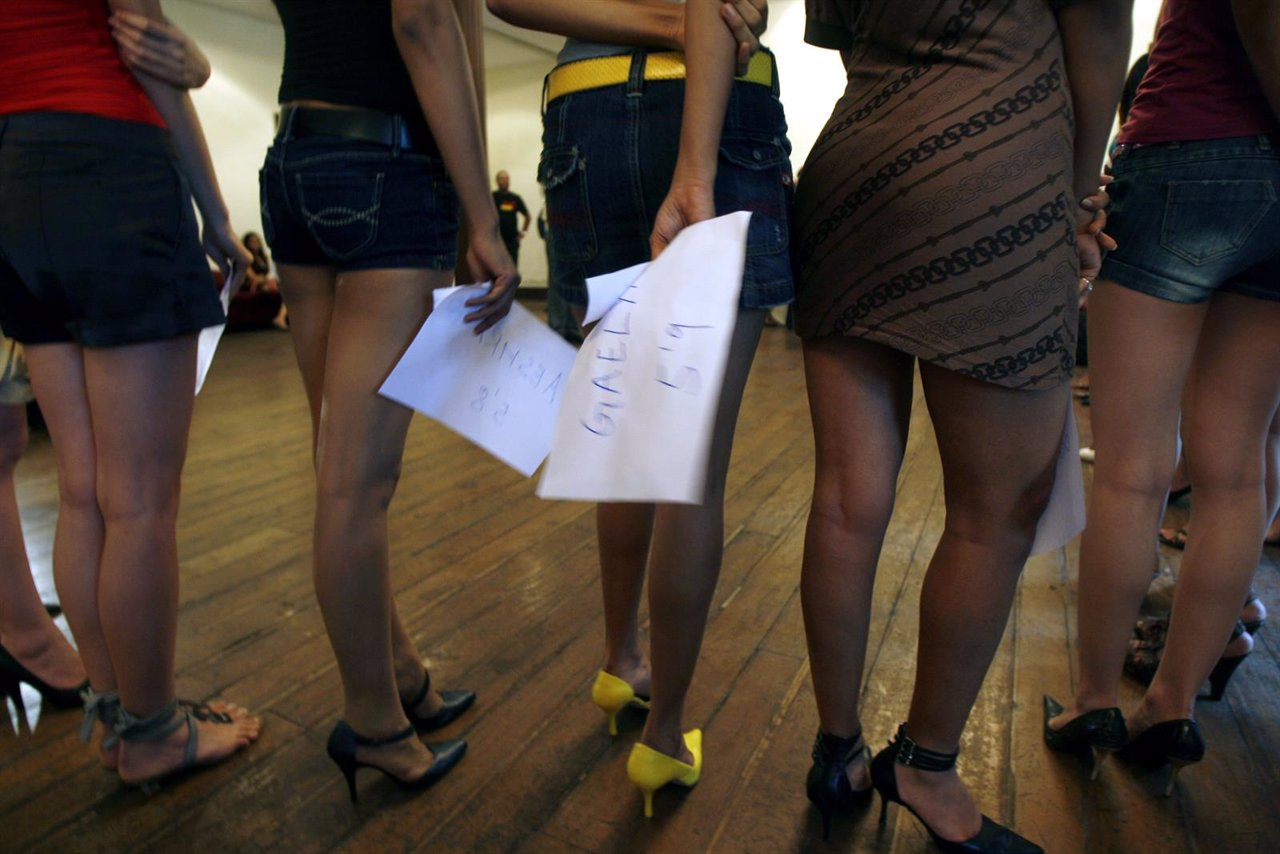 Models look on during auditions for an upcoming fashion week in Mumbai
