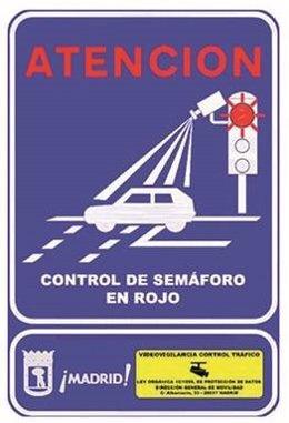 Señal de control de semáforo en rojo
