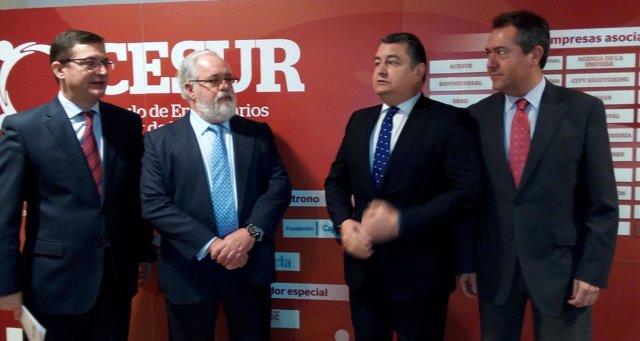 Fernanco Seco, Miguel Arias Cañete, Antonio Sanz y Juan Espadas.
