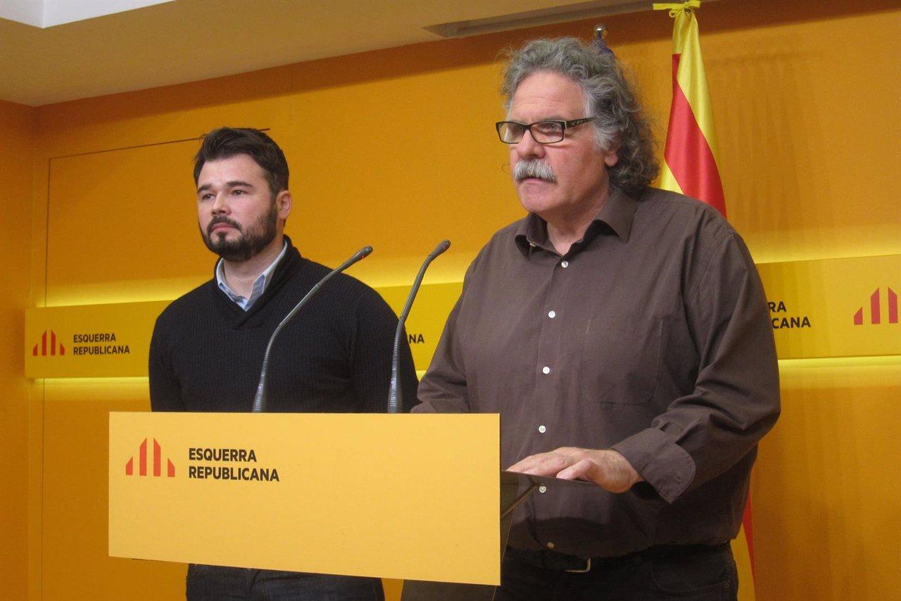 Los diputados de ERC en el Gongreso Gabriel Rufián y Joan Tardà