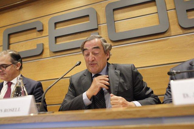 Juan Rosell en la presentación del libro de Javier Scherk