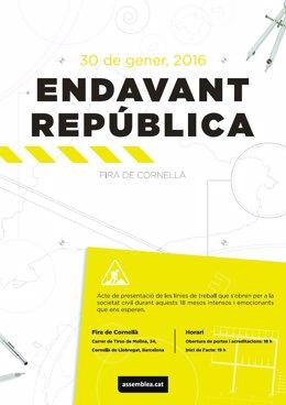 Cartel del acto 'Endavant República' de la ANC