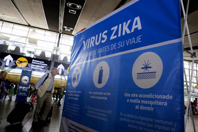A banner is seen during an information campaign on Zika virus by the Chilean Hea
