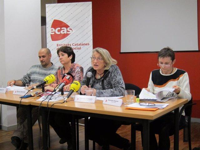 Representantes de Ecas, Càritas Barcelona, el Centro  Assís y Fundación Adsis