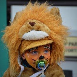 Niño, disfraz, león, carnaval