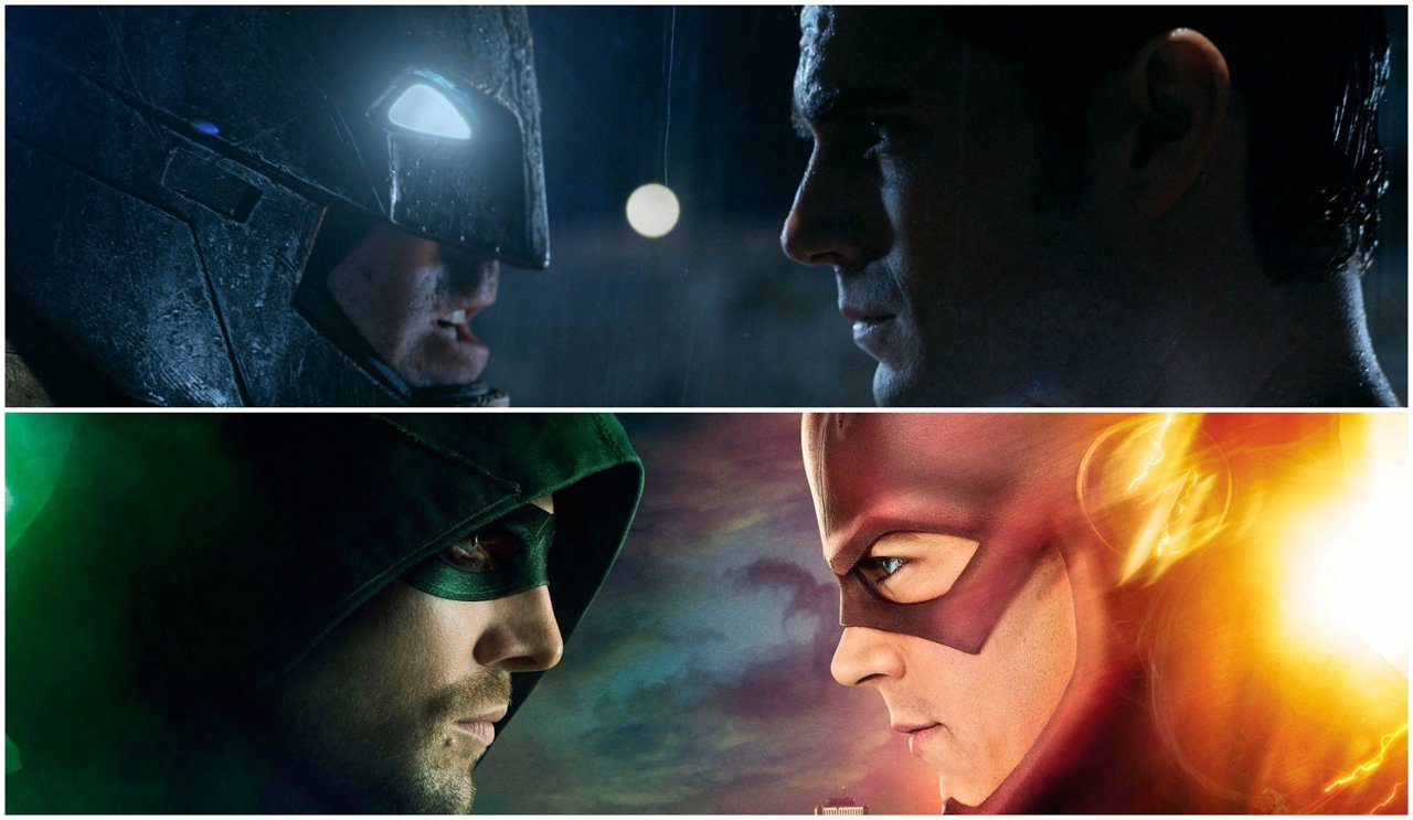 Collage Batman v superman, Flash vs Arrow