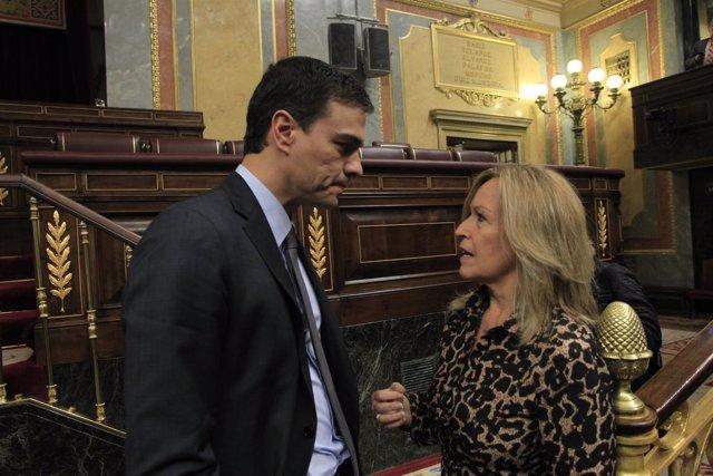 Pedro Sánchez y Trinidad Jiménez.