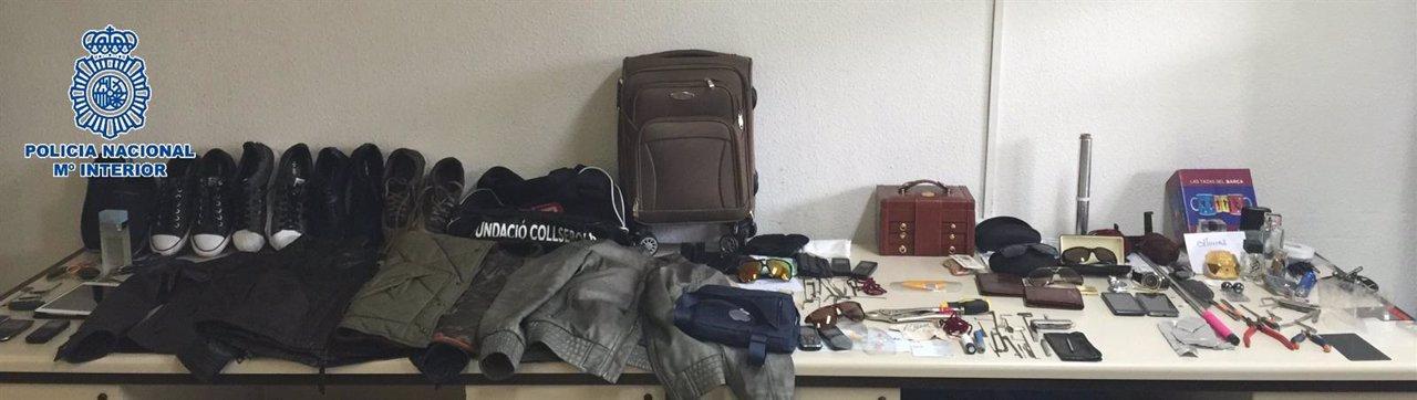 Objetos intervenidos tras robos en casas